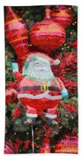 Santa Claus Balloon Beach Towel