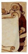 Santa Claus Wishlist Original Coffee Painting Beach Towel