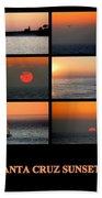 Santa Cruz Sunset  Beach Towel by AJ  Schibig