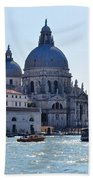 Santa Maria Della Salute Surrounded By Sparkling Waters Beach Towel