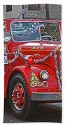 Santa On Fire Truck Beach Towel