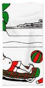 Santa On Vacation Beach Towel