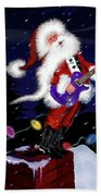 Santa Plays Guitar In A Snowstorm 2 Beach Towel