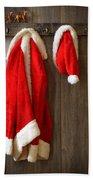 Santa's Coat Beach Towel by Amanda Elwell