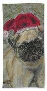 Santa's Little Pugster Beach Towel