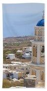 Santorini Church Overlooking The Sea Beach Towel