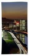 Sao Paulo Skyline At Dusk - Jockey Club - Pinheiros River Towards Pico Do Jaragua Beach Towel