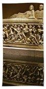 Sarcophoghus Reflected In Antalya Archeological Museum-turkey  Beach Towel