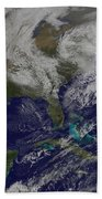 Satellite View Of A Noreaster Storm Beach Towel