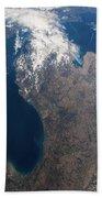 Satellite View Of Great Lakes Beach Towel