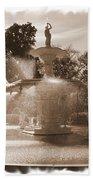Savannah Fountain In Sepia Beach Towel