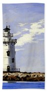 Saybrook Breakwater Lighthouse Old Saybrook Connecticut Beach Towel