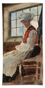 Scandinavian Peasant Woman In An Interior Beach Towel by Alexandre Lunois
