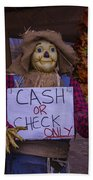 Scarecrow Holding Sign Beach Towel