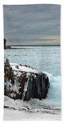 Scenic Winter Lighthouse Beach Towel