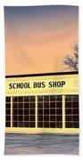 School Bus Repair Shop Beach Towel