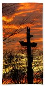 School Totem Pole Sunrise Beach Towel