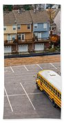 Schoolbuses And Colorful Houses - Atlanta - Georgia Beach Towel