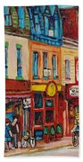 Schwartzs Deli And Warshaw Fruit Store Montreal Landmarks On St Lawrence Street  Beach Towel