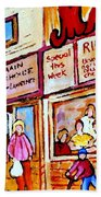 Scooting By The Main Steakhouse Authentic Montreal Paintings Prints Originals Commissions C Spandau Beach Towel