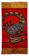 Scorpion On Red And Brown Leather Beach Towel