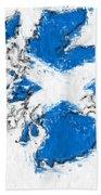 Scotland Painted Flag Map Beach Towel