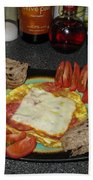 Scrambled Eggs Salami And Cheese For Breakfast. Travelling Baby Pandas Series. Beach Towel