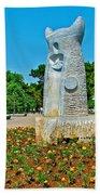 Sculpture And Flowers In Antalya Park Along Mediterranean Coast-turkey  Beach Towel
