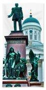 Sculpture Of Alexander II In Cathedral Of Helsinki-finland Beach Towel