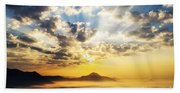 Sea Of Clouds On Sunrise With Ray Lighting Beach Towel
