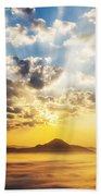 Sea Of Clouds On Sunrise With Ray Lighting Beach Towel
