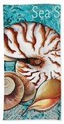 Sea Shells Original Coastal Painting Colorful Nautilus Art By Megan Duncanson Beach Towel by Megan Duncanson