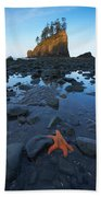 Sea Stacks And Star Fish Beach Towel