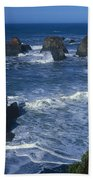 Sea Stacks Central Coast Near Rockport California Beach Towel