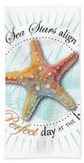 Sea Stars Align For A Perfect Day At The Beach Beach Towel by Amy Kirkpatrick