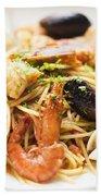 Seafood Pasta Dish Beach Towel