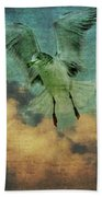 Seagull In The Clouds Beach Towel