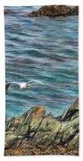 Seagull Over Rocks Beach Towel
