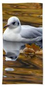 Seagull Resting Among Fall Leaves Beach Towel