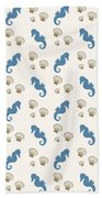 Seahorse And Shells Pattern Beach Towel