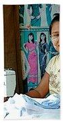 Seamstress At Her Sewing Machine In Tachilek-burma Beach Towel