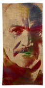 Sean Connery Actor Watercolor Portrait On Worn Distressed Canvas Beach Towel