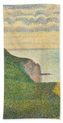 Seascape At Port En Bessin Normandy Beach Towel by Georges Seurat