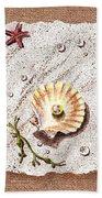 Seashell With The Pearl Sea Star And Seaweed  Beach Towel