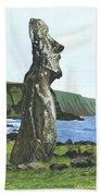 Seaside Moai Beach Towel