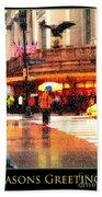 Season's Greetings - Yellow And Blue Umbrella - Holiday And Christmas Card Beach Towel