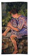 Seated Young Woman Beach Towel
