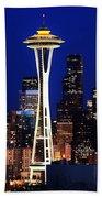 Seattle By Night Beach Towel