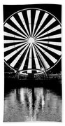 Seattle Great Wheel Black And White Beach Towel