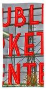 Seattle Public Market Center Clock Sign Beach Sheet